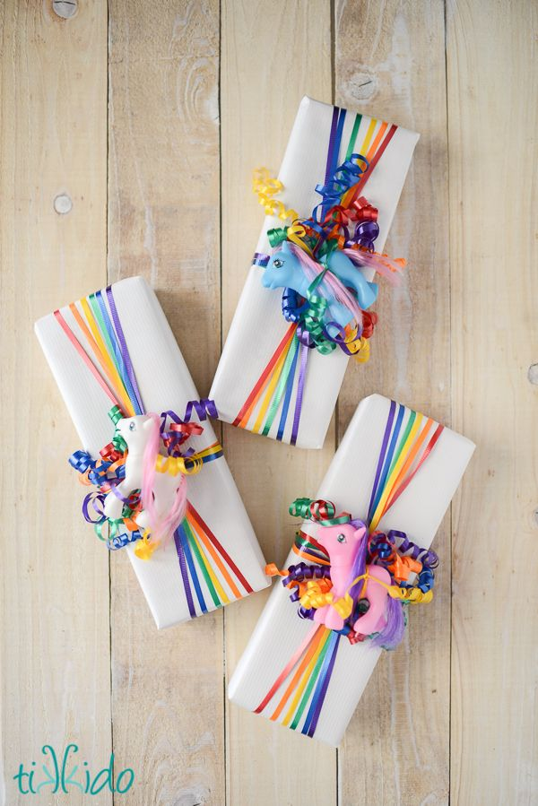 Easy rainbow ribbon gift wrap tutorial
