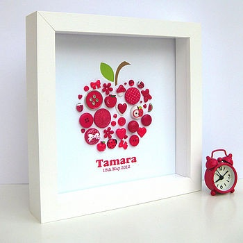 Personalised Baby Girl Button Apple Artwork